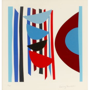 Terry Frost Blue, Red, Black Vertical Rhythm